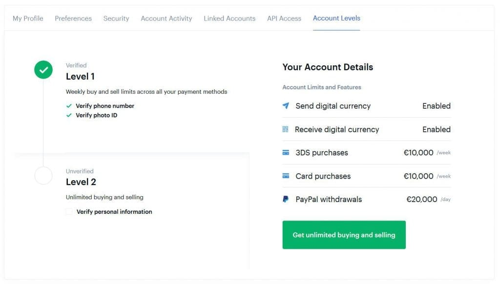account level coinbase interface