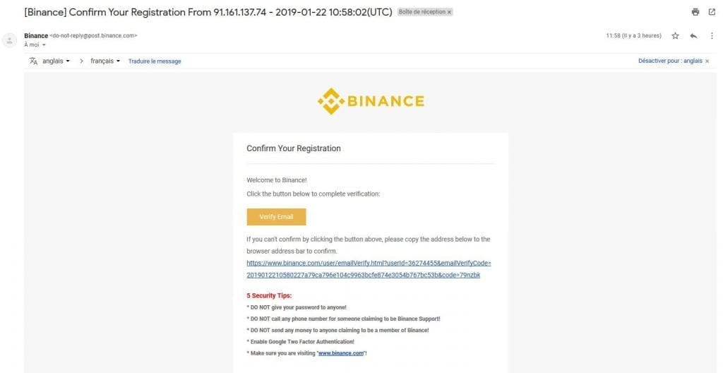 email confirmation for binance