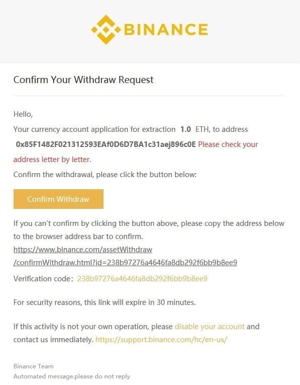 confirm withdraw