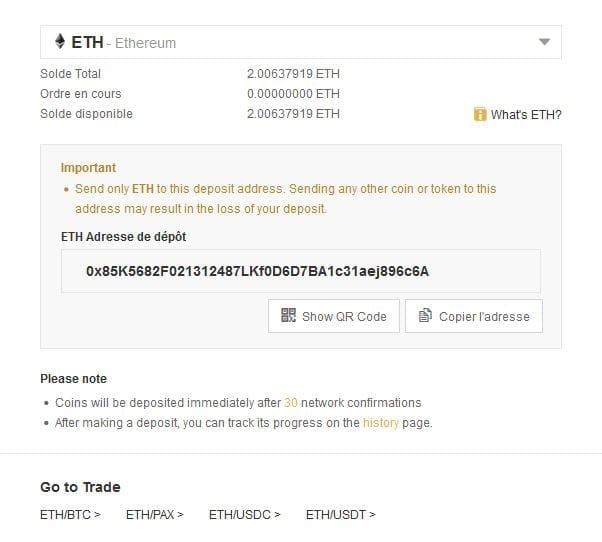 envoie ethereum binance