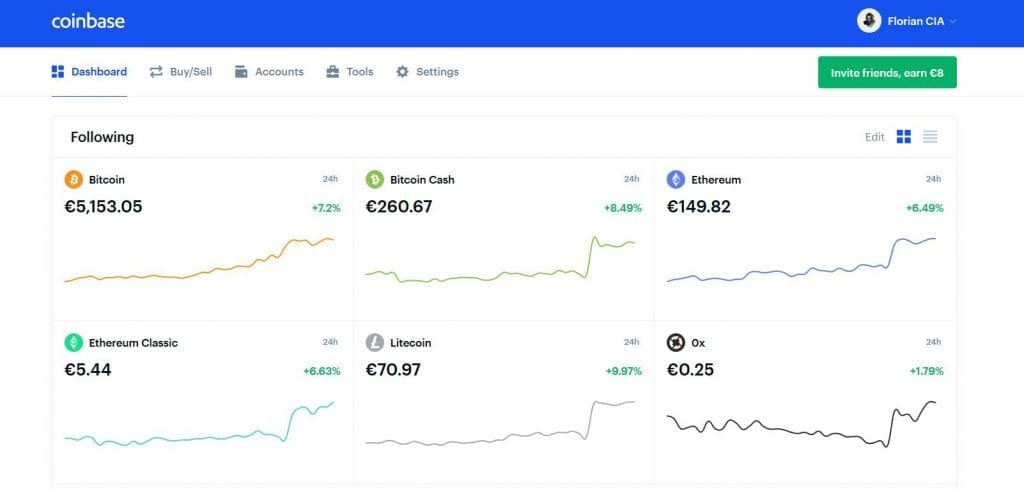 interface homepage coinbase review