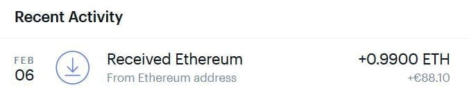 received eth address