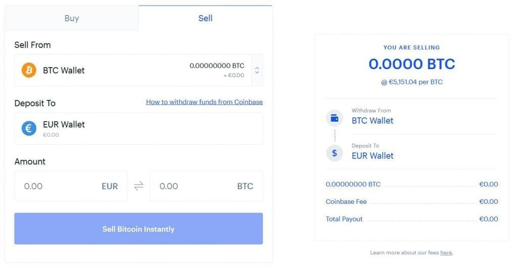 sell bitcoin coinbase interface